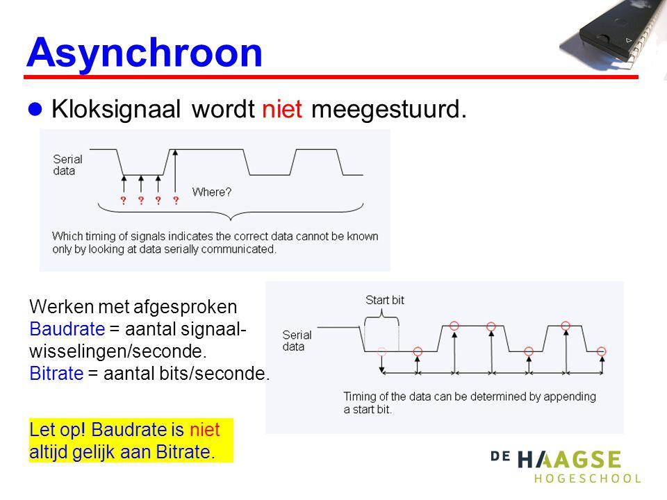 Asynchroon Kloksignaal wordt niet meegestuurd. Werken met afgesproken Baudrate = aantal signaal- wisselingen/seconde. Bitrate = aantal bits/seconde. L