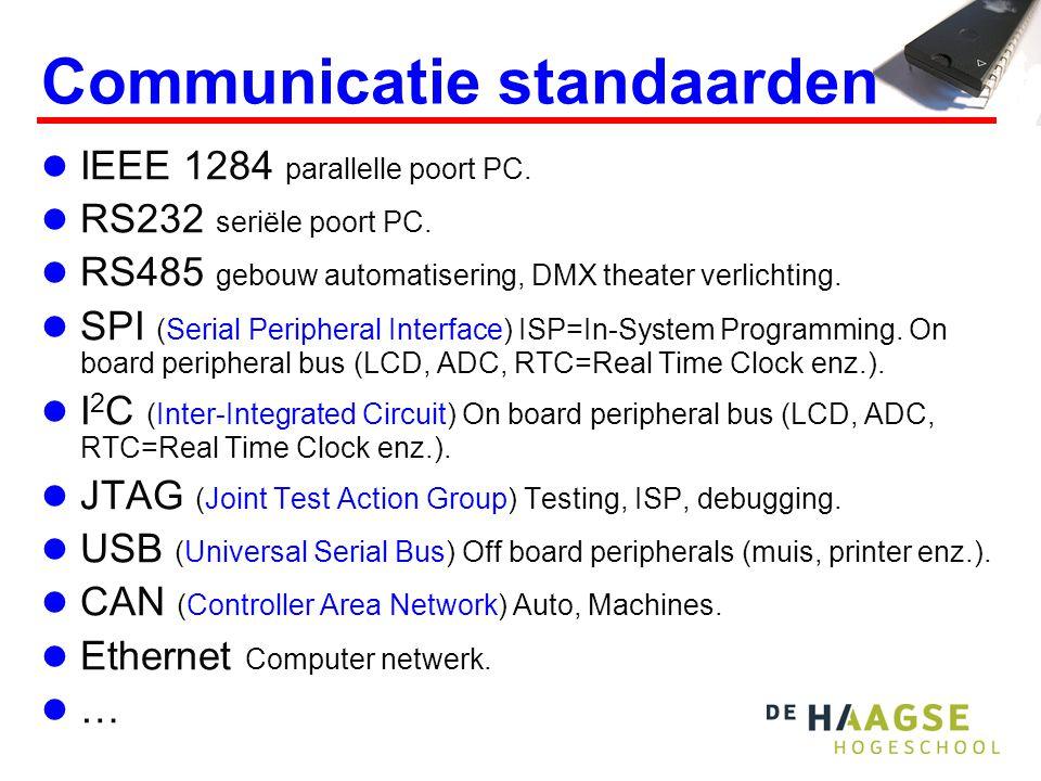 Communicatie standaarden IEEE 1284 parallelle poort PC. RS232 seriële poort PC. RS485 gebouw automatisering, DMX theater verlichting. SPI (Serial Peri