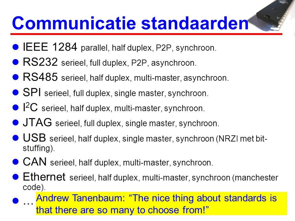 Communicatie standaarden IEEE 1284 parallel, half duplex, P2P, synchroon. RS232 serieel, full duplex, P2P, asynchroon. RS485 serieel, half duplex, mul