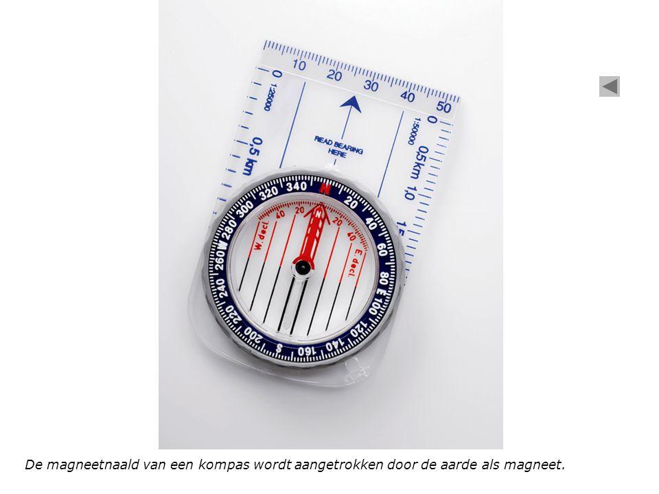 De magneetnaald van een kompas wordt aangetrokken door de aarde als magneet.