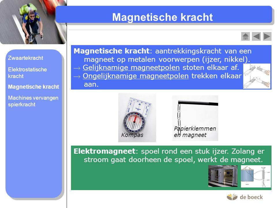 Magnetische kracht : aantrekkingskracht van een magneet op metalen voorwerpen (ijzer, nikkel).  Gelijknamige magneetpolen stoten elkaar af.  Ongelij