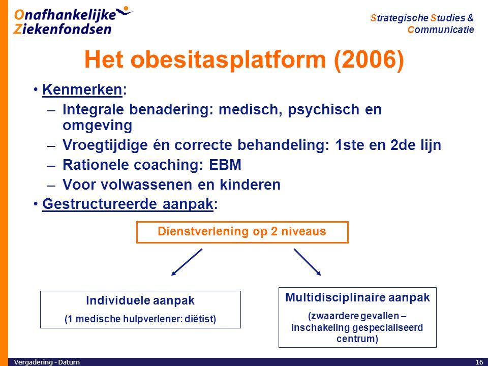 Vergadering - Datum16 Strategische Studies & Communicatie Het obesitasplatform (2006) Kenmerken: –Integrale benadering: medisch, psychisch en omgeving –Vroegtijdige én correcte behandeling: 1ste en 2de lijn –Rationele coaching: EBM –Voor volwassenen en kinderen Gestructureerde aanpak: Dienstverlening op 2 niveaus Individuele aanpak (1 medische hulpverlener: diëtist) Multidisciplinaire aanpak (zwaardere gevallen – inschakeling gespecialiseerd centrum)