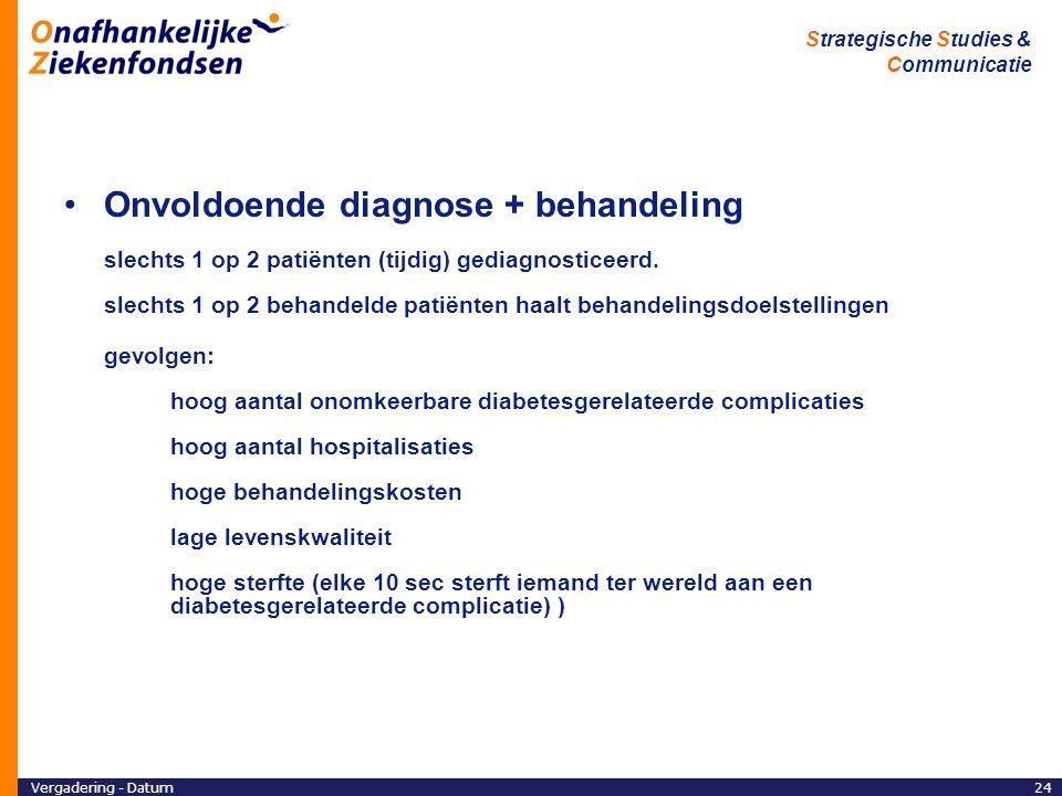 Vergadering - Datum24 Strategische Studies & Communicatie Onvoldoende diagnose + behandeling slechts 1 op 2 patiënten (tijdig) gediagnosticeerd.