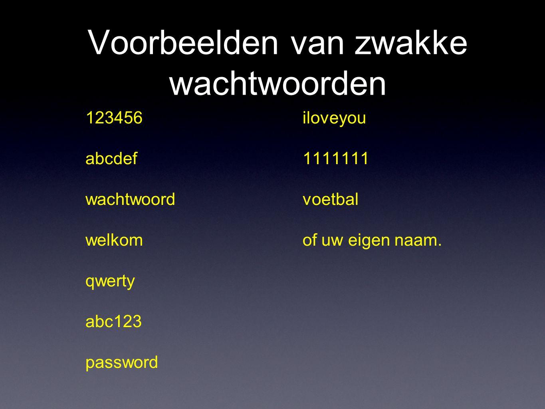 Voorbeelden van zwakke wachtwoorden 123456 abcdef wachtwoord welkom qwerty abc123 password iloveyou 1111111 voetbal of uw eigen naam.