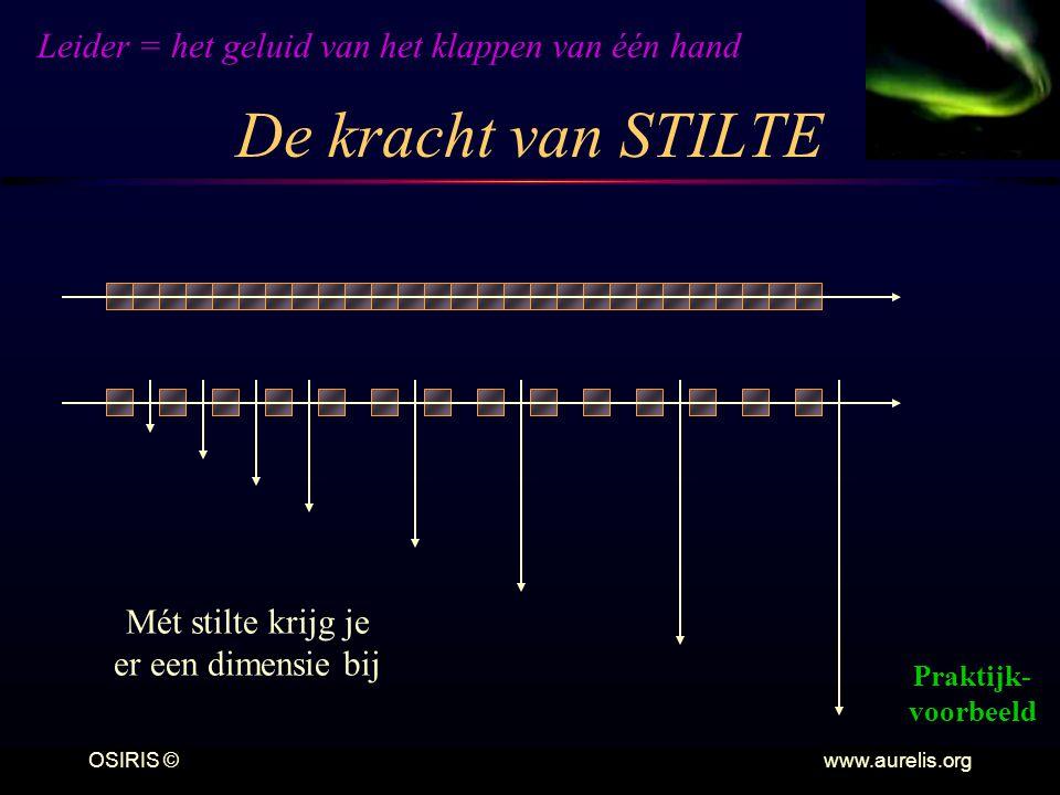 OSIRIS © www.aurelis.org De kracht van STILTE Mét stilte krijg je er een dimensie bij Praktijk- voorbeeld Leider = het geluid van het klappen van één hand