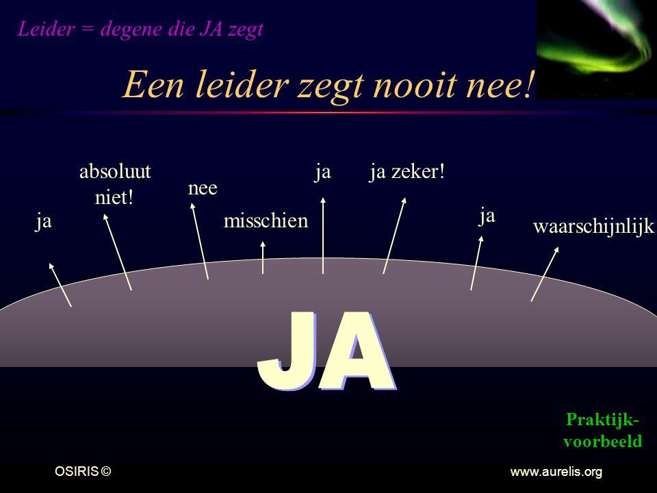 OSIRIS © www.aurelis.org Een leider zegt nooit nee! ja zeker!ja absoluut niet! nee waarschijnlijk misschien Leider = degene die JA zegt Praktijk- voor