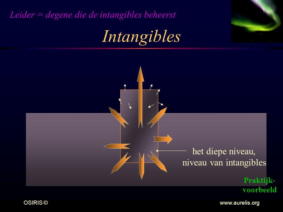 OSIRIS © www.aurelis.org Intangibles het diepe niveau, niveau van intangibles Leider = degene die de intangibles beheerst Praktijk- voorbeeld