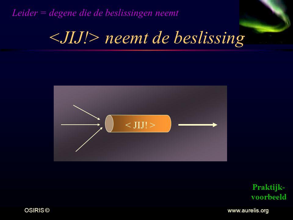 OSIRIS © www.aurelis.org neemt de beslissing Leider = degene die de beslissingen neemt Praktijk- voorbeeld