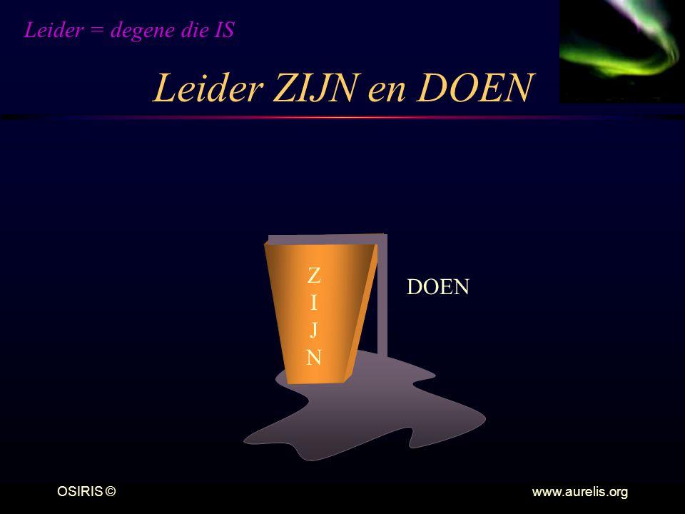 OSIRIS © www.aurelis.org Leider ZIJN en DOEN DOEN ZIJNZIJN Leider = degene die IS