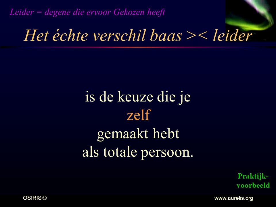 OSIRIS © www.aurelis.org Het échte verschil baas >< leider Leider = degene die ervoor Gekozen heeft is de keuze die je zelf gemaakt hebt als totale pe
