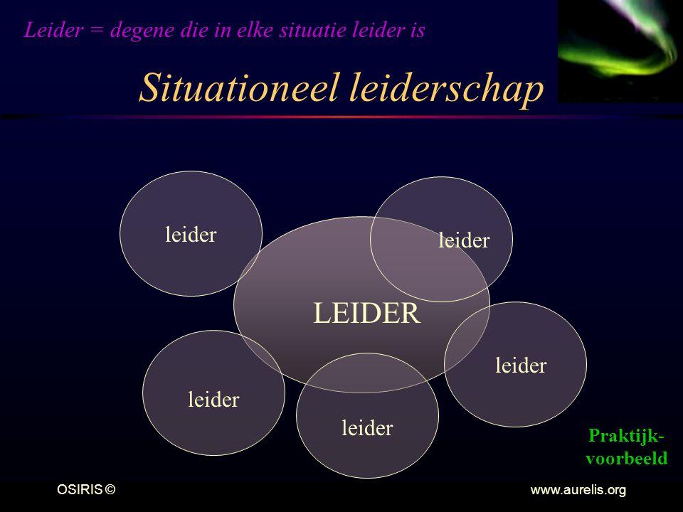 OSIRIS © www.aurelis.org Situationeel leiderschap LEIDER Leider = degene die in elke situatie leider is Praktijk- voorbeeld leider