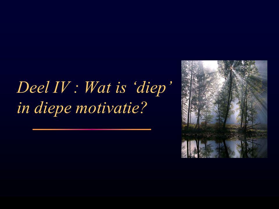 Deel IV : Wat is 'diep' in diepe motivatie?