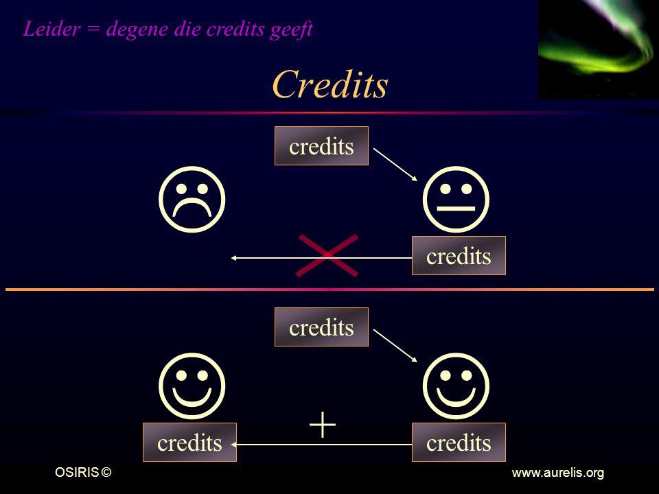 OSIRIS © www.aurelis.org Credits   credits credits + Leider = degene die credits geeft
