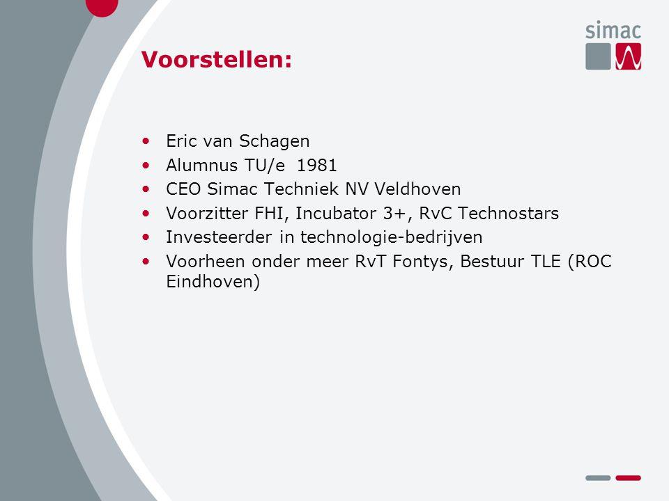 Voorstellen: Eric van Schagen Alumnus TU/e 1981 CEO Simac Techniek NV Veldhoven Voorzitter FHI, Incubator 3+, RvC Technostars Investeerder in technologie-bedrijven Voorheen onder meer RvT Fontys, Bestuur TLE (ROC Eindhoven)