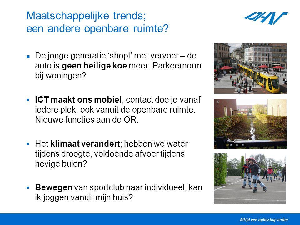Maatschappelijke trends; een andere openbare ruimte? De jonge generatie 'shopt' met vervoer – de auto is geen heilige koe meer. Parkeernorm bij woning