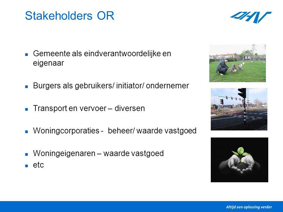 Stakeholders OR Gemeente als eindverantwoordelijke en eigenaar Burgers als gebruikers/ initiator/ ondernemer Transport en vervoer – diversen Woningcor