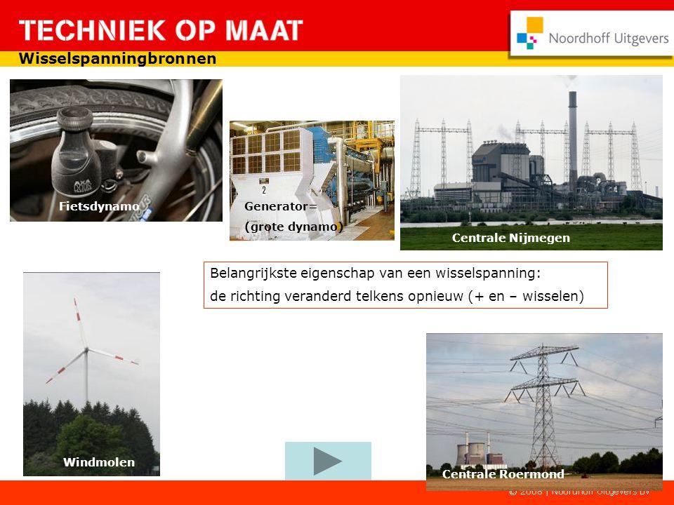 Centrale Roermond Centrale Nijmegen Generator= (grote dynamo) Fietsdynamo Belangrijkste eigenschap van een wisselspanning: de richting veranderd telkens opnieuw (+ en – wisselen) Windmolen Wisselspanningbronnen