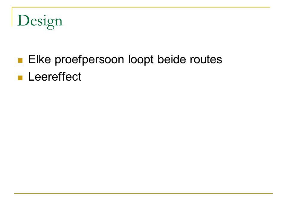 Design Elke proefpersoon loopt beide routes Leereffect