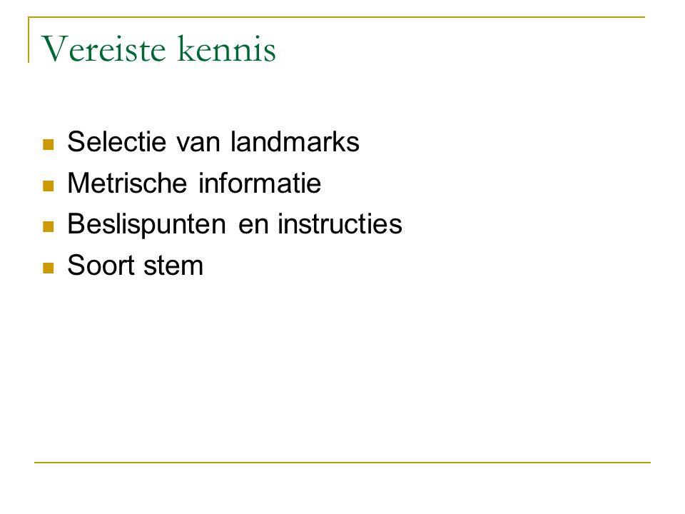 Vereiste kennis Selectie van landmarks Metrische informatie Beslispunten en instructies Soort stem