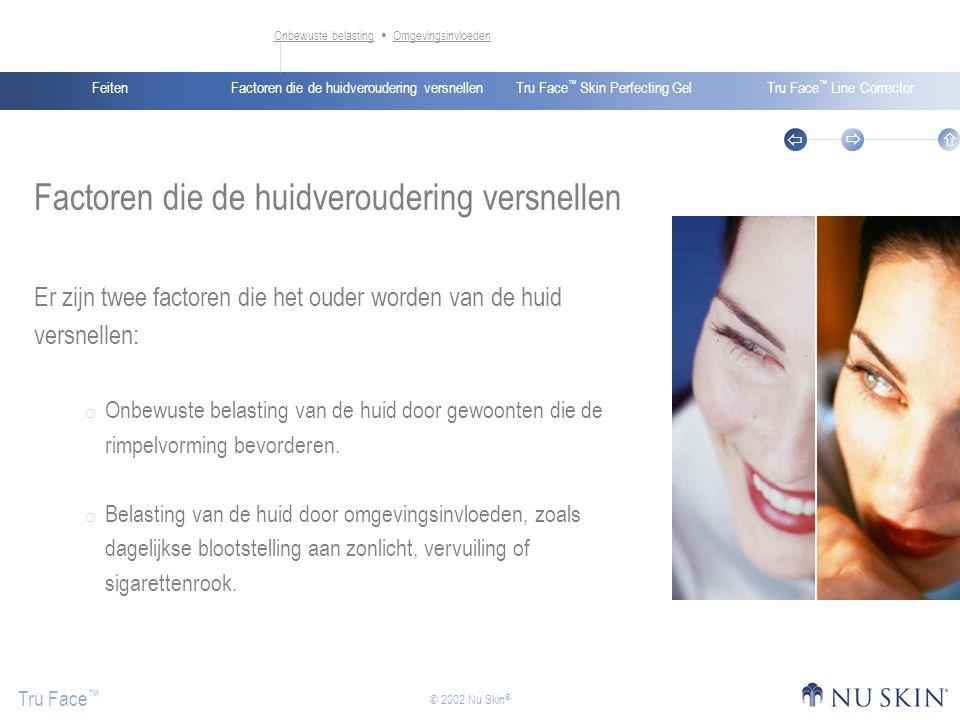 Factoren die de huidveroudering versnellenFeitenTru Face ™ Skin Perfecting GelTru Face ™ Line Corrector Tru Face ™    © 2002 Nu Skin ® Onbewuste belastingOnbewuste belasting  OmgevingsinvloedenOmgevingsinvloeden Factoren die de huidveroudering versnellen Er zijn twee factoren die het ouder worden van de huid versnellen:  Onbewuste belasting van de huid door gewoonten die de rimpelvorming bevorderen.