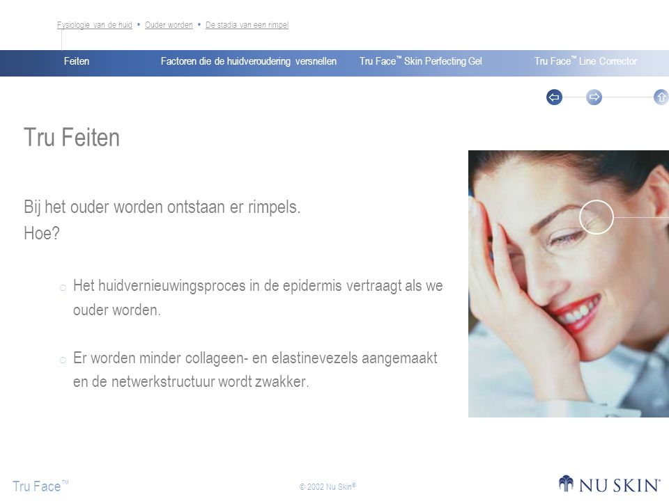 Factoren die de huidveroudering versnellenFeitenTru Face ™ Skin Perfecting GelTru Face ™ Line Corrector Tru Face ™    © 2002 Nu Skin ® Tru Feiten Bij het ouder worden ontstaan er rimpels.