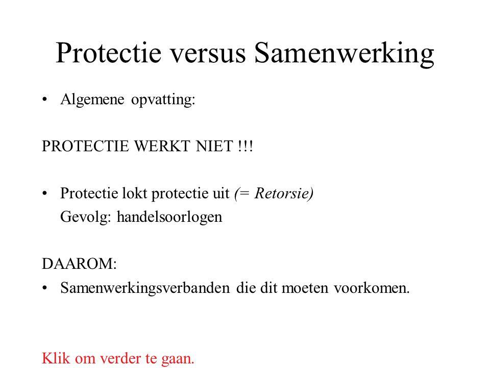 Protectie versus Samenwerking Algemene opvatting: PROTECTIE WERKT NIET !!! Protectie lokt protectie uit (= Retorsie) Gevolg: handelsoorlogen DAAROM: S