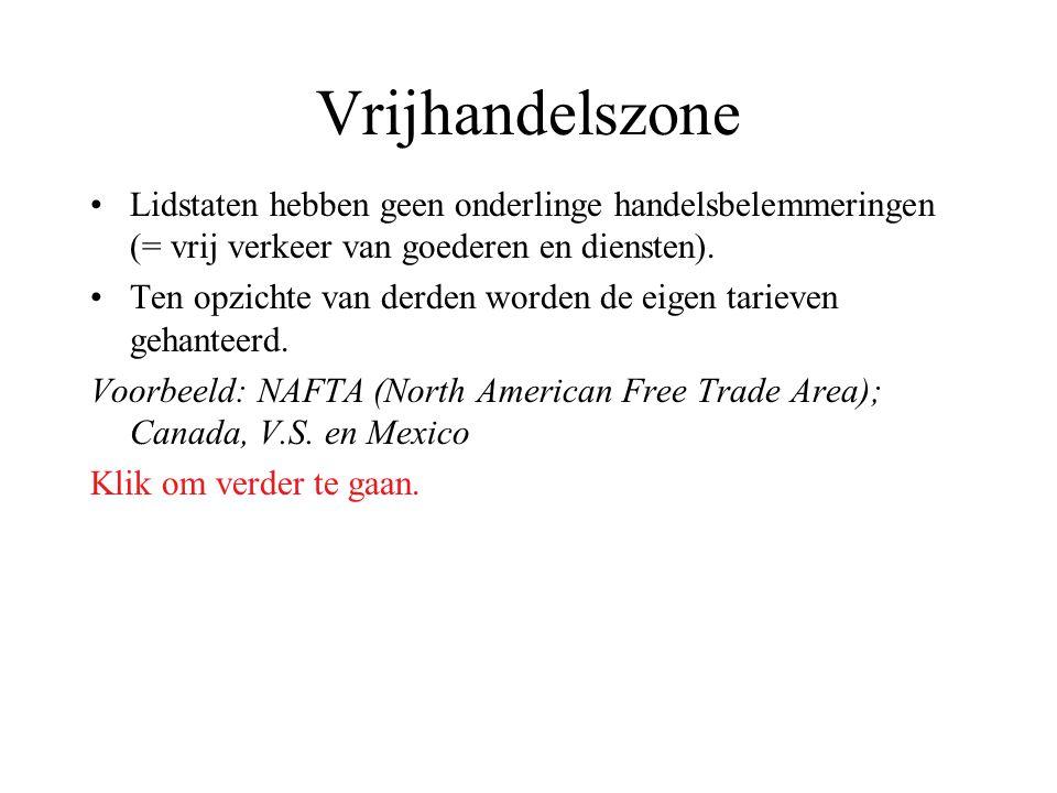 Vrijhandelszone Lidstaten hebben geen onderlinge handelsbelemmeringen (= vrij verkeer van goederen en diensten). Ten opzichte van derden worden de eig