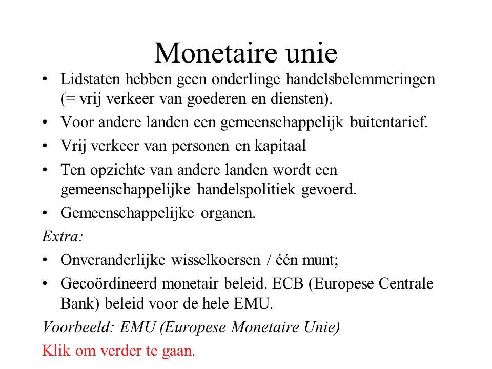 Monetaire unie Lidstaten hebben geen onderlinge handelsbelemmeringen (= vrij verkeer van goederen en diensten). Voor andere landen een gemeenschappeli