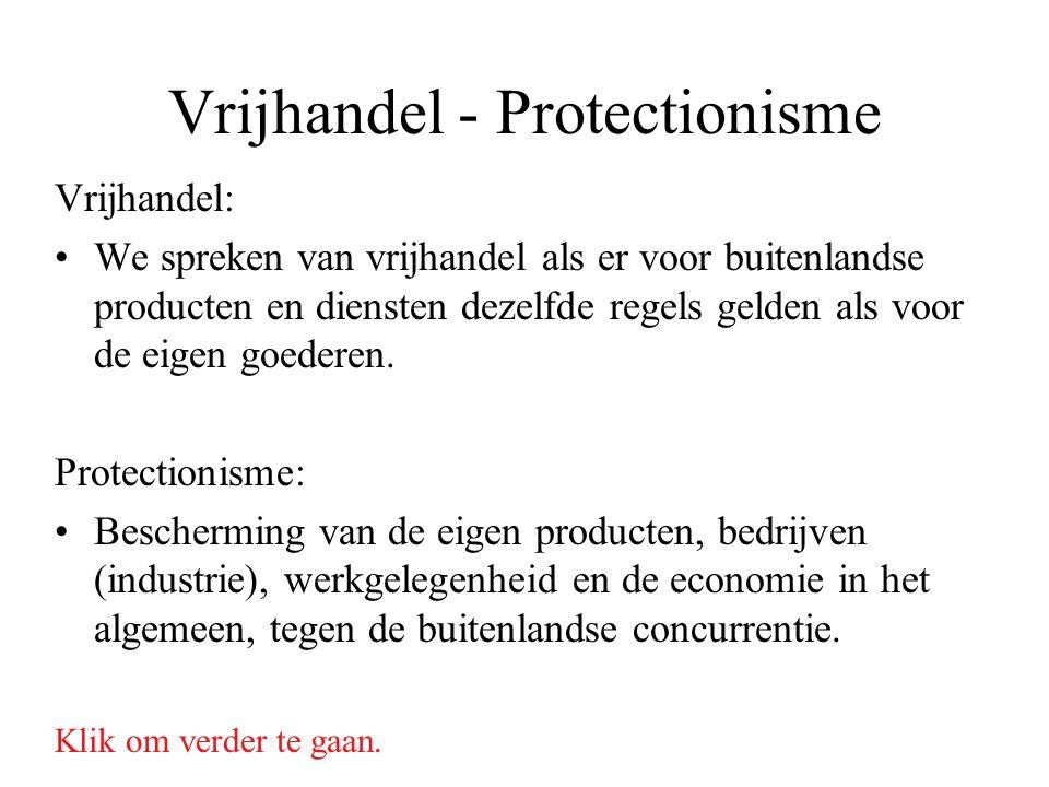 Vrijhandel - Protectionisme Vrijhandel: We spreken van vrijhandel als er voor buitenlandse producten en diensten dezelfde regels gelden als voor de ei