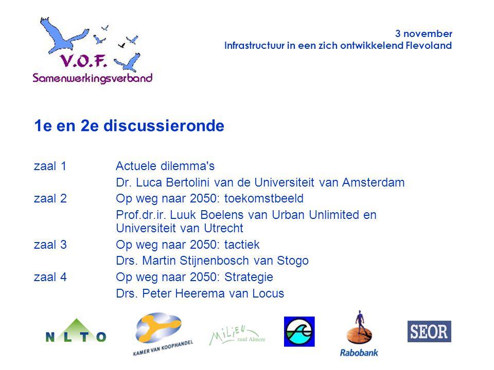 3 november Infrastructuur in een zich ontwikkelend Flevoland 1e en 2e discussieronde zaal 1Actuele dilemma's Dr. Luca Bertolini van de Universiteit va