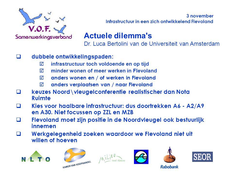 Actuele dilemma's Dr. Luca Bertolini van de Universiteit van Amsterdam qdubbele ontwikkelingspaden: þinfrastructuur toch voldoende en op tijd  minder