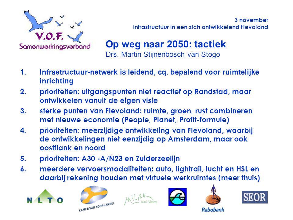 1.Infrastructuur-netwerk is leidend, cq. bepalend voor ruimtelijke inrichting 2.prioriteiten: uitgangspunten niet reactief op Randstad, maar ontwikkel