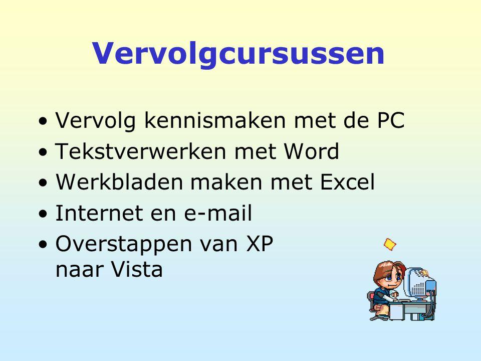 Vervolgcursussen Vervolg kennismaken met de PC Tekstverwerken met Word Werkbladen maken met Excel Internet en e-mail Overstappen van XP naar Vista