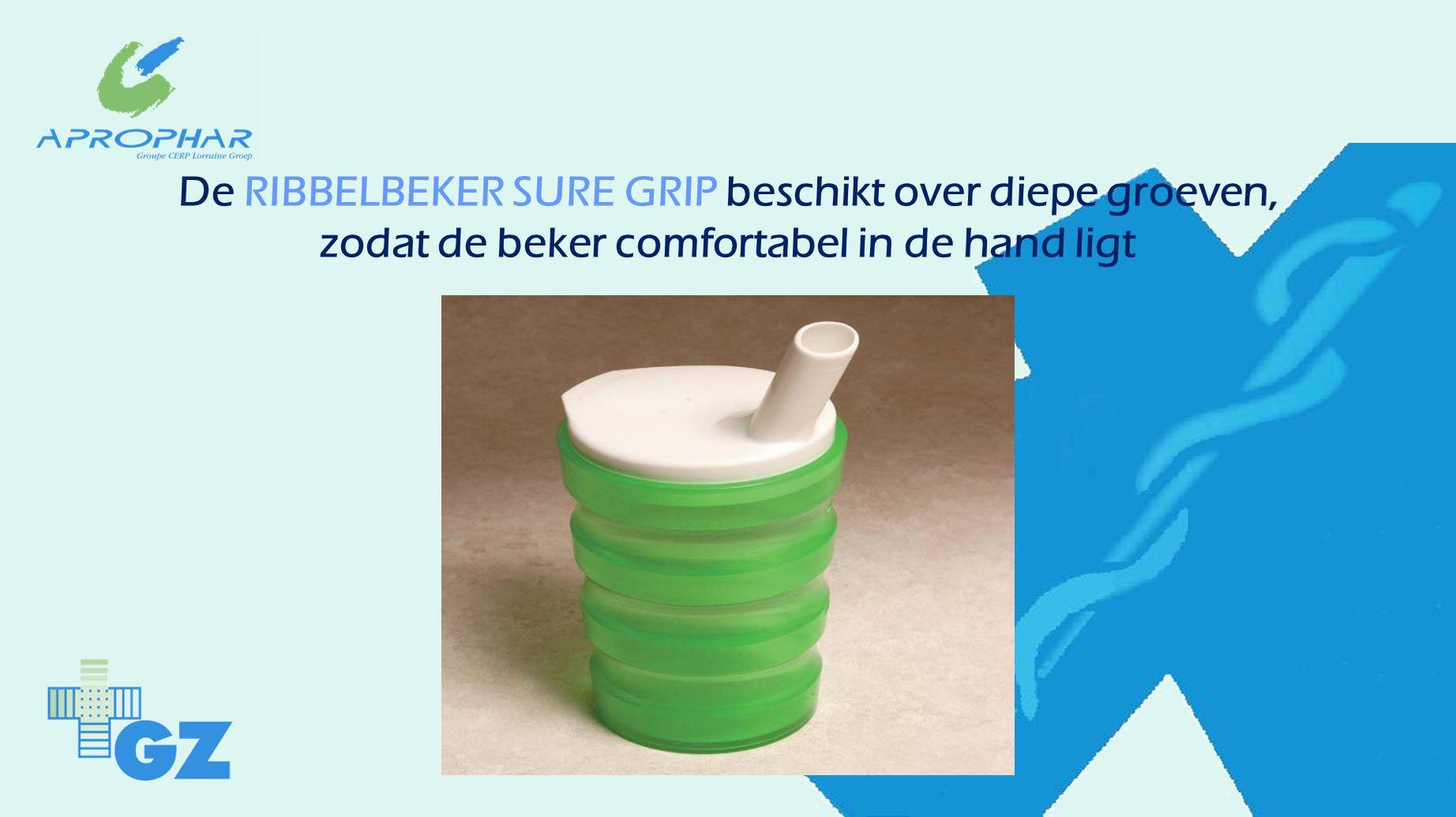 De RIBBELBEKER SURE GRIP beschikt over diepe groeven, zodat de beker comfortabel in de hand ligt
