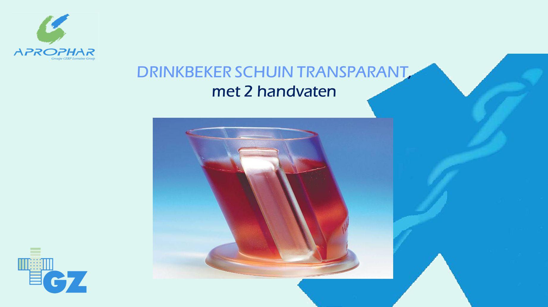 DRINKBEKER SCHUIN TRANSPARANT, met 2 handvaten