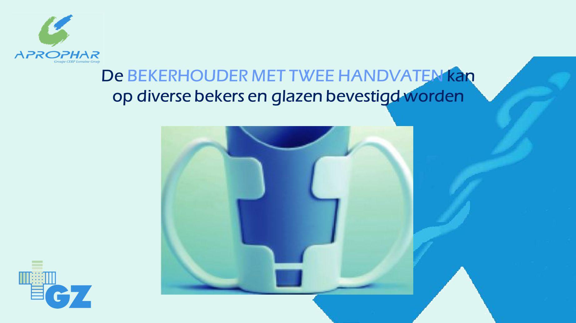 De BEKERHOUDER MET TWEE HANDVATEN kan op diverse bekers en glazen bevestigd worden