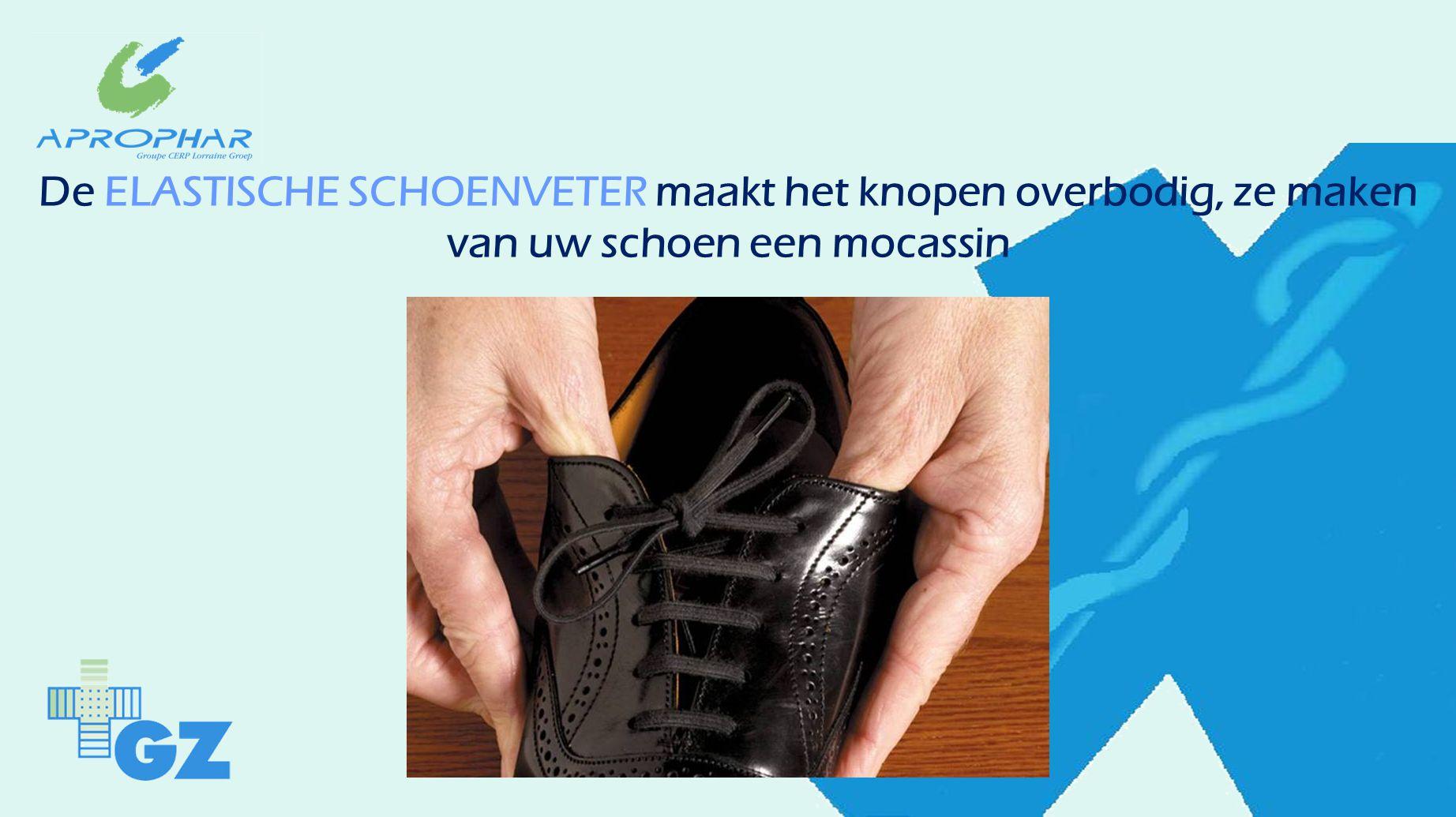 De ELASTISCHE SCHOENVETER maakt het knopen overbodig, ze maken van uw schoen een mocassin