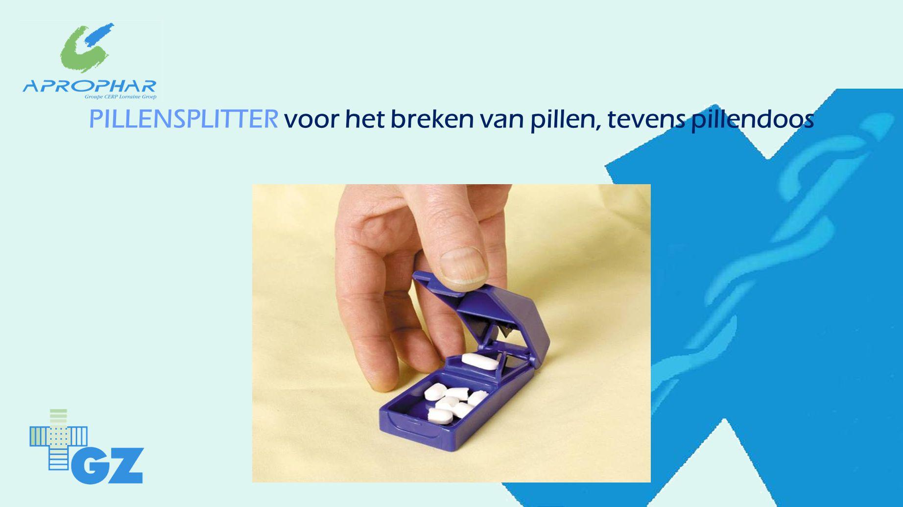 PILLENSPLITTER voor het breken van pillen, tevens pillendoos