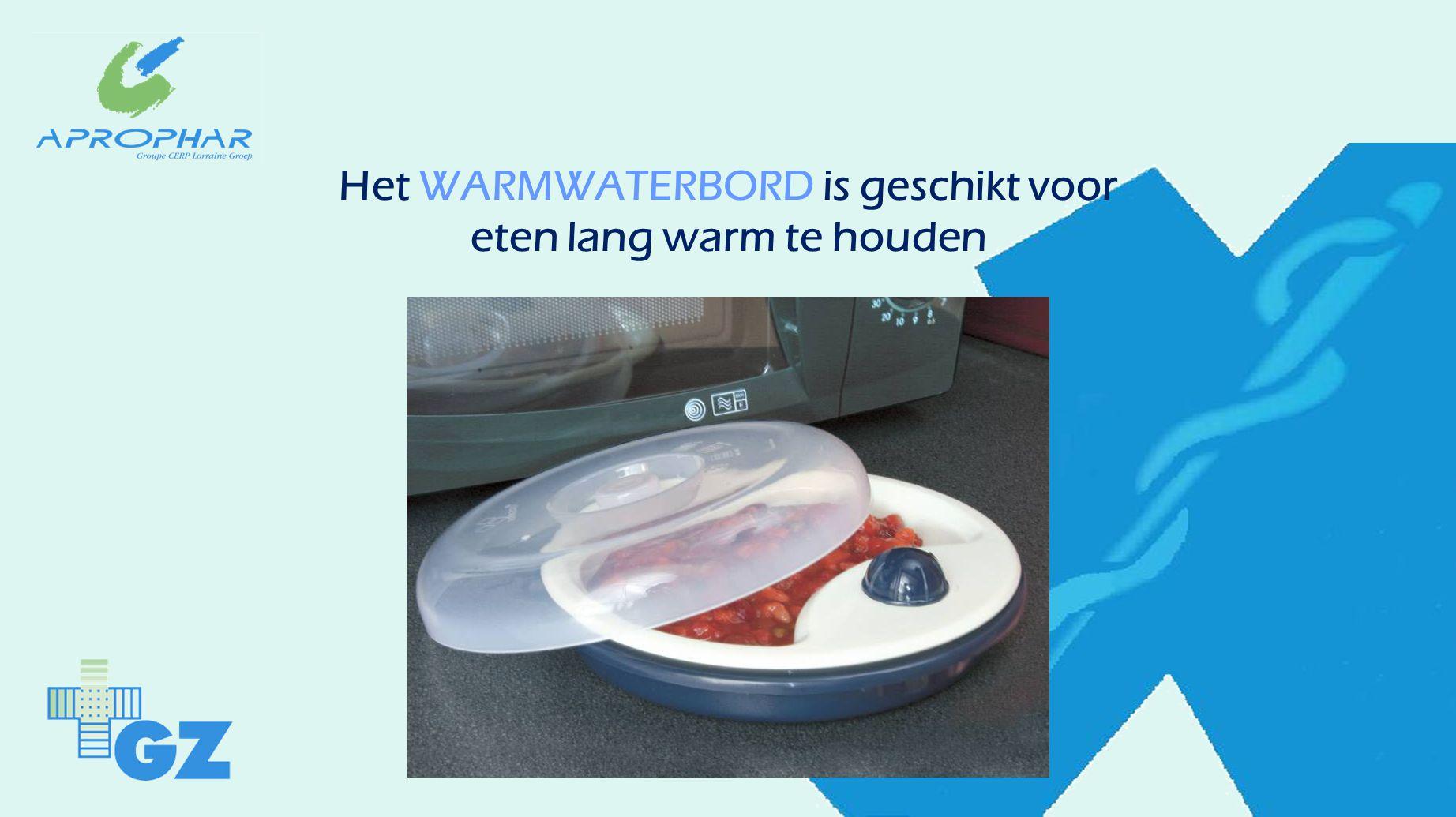 Het WARMWATERBORD is geschikt voor eten lang warm te houden