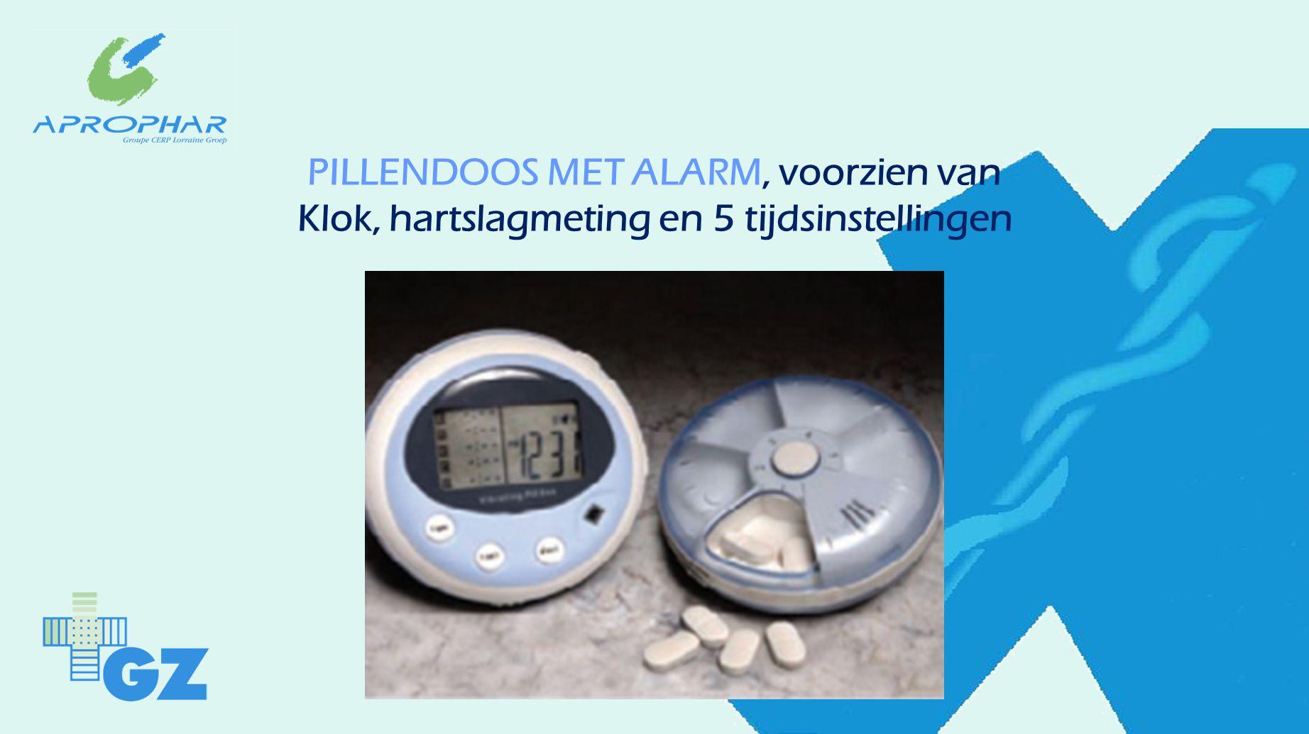PILLENDOOS MET ALARM, voorzien van Klok, hartslagmeting en 5 tijdsinstellingen