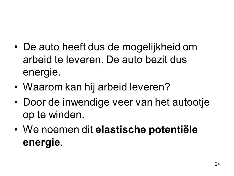 24 De auto heeft dus de mogelijkheid om arbeid te leveren. De auto bezit dus energie. Waarom kan hij arbeid leveren? Door de inwendige veer van het au