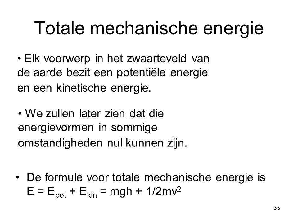 35 Totale mechanische energie De formule voor totale mechanische energie is E = E pot + E kin = mgh + 1/2mv 2 Elk voorwerp in het zwaarteveld van de a