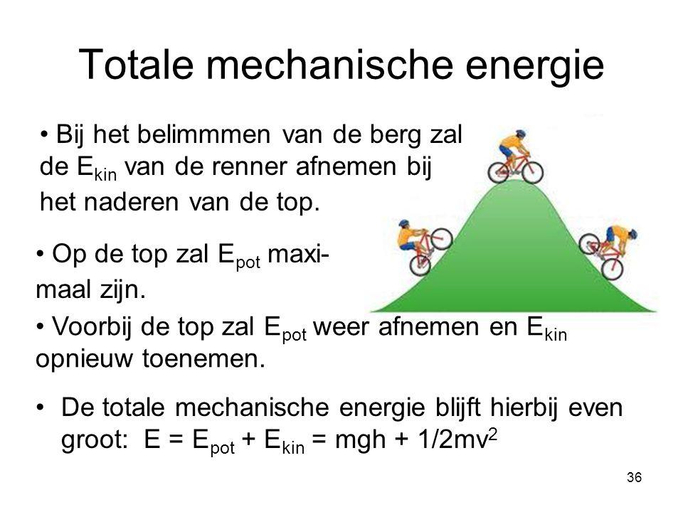 36 Bij het belimmmen van de berg zal de E kin van de renner afnemen bij het naderen van de top. Totale mechanische energie De totale mechanische energ
