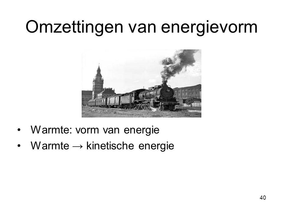 40 Omzettingen van energievorm Warmte: vorm van energie Warmte → kinetische energie