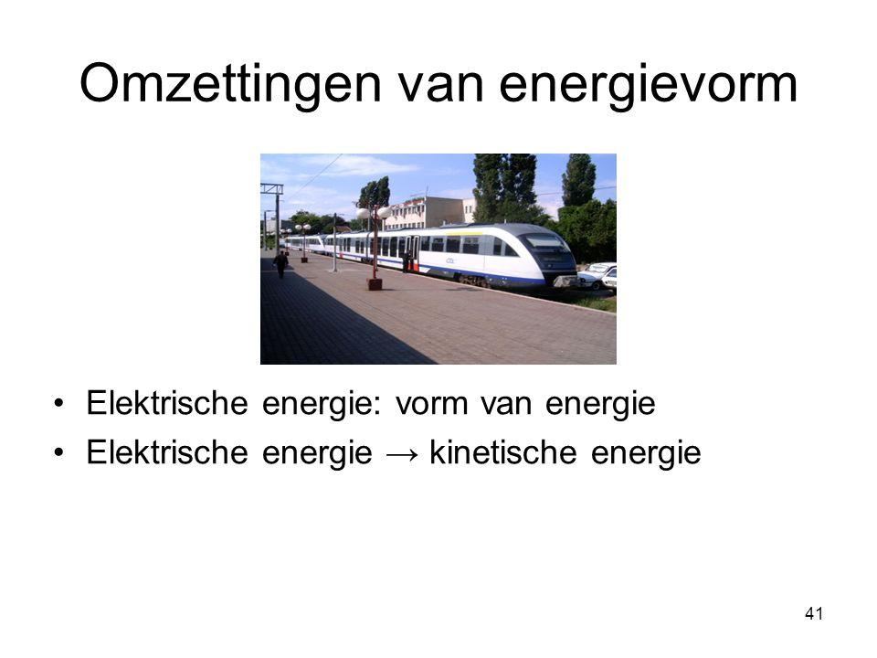 41 Omzettingen van energievorm Elektrische energie: vorm van energie Elektrische energie → kinetische energie