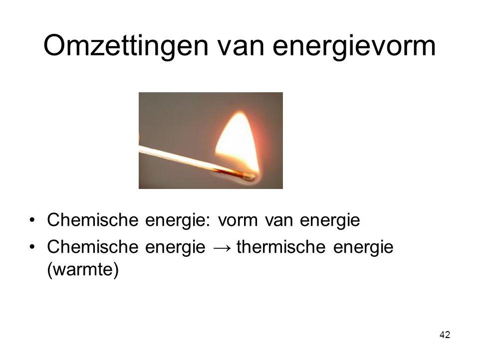 42 Omzettingen van energievorm Chemische energie: vorm van energie Chemische energie → thermische energie (warmte)