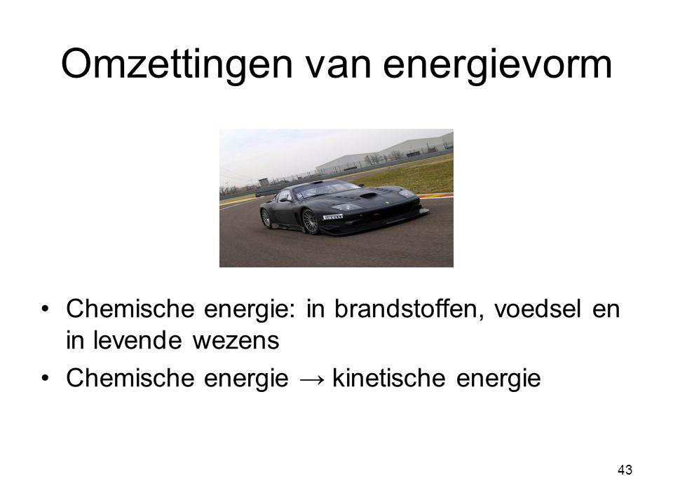 43 Omzettingen van energievorm Chemische energie: in brandstoffen, voedsel en in levende wezens Chemische energie → kinetische energie
