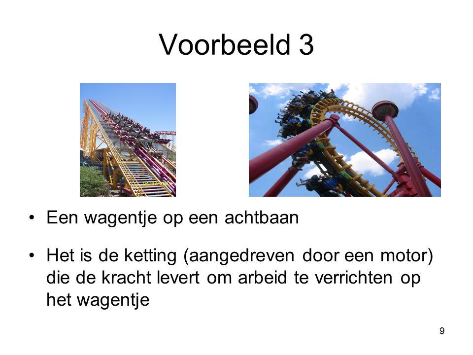 9 Voorbeeld 3 Een wagentje op een achtbaan Het is de ketting (aangedreven door een motor) die de kracht levert om arbeid te verrichten op het wagentje