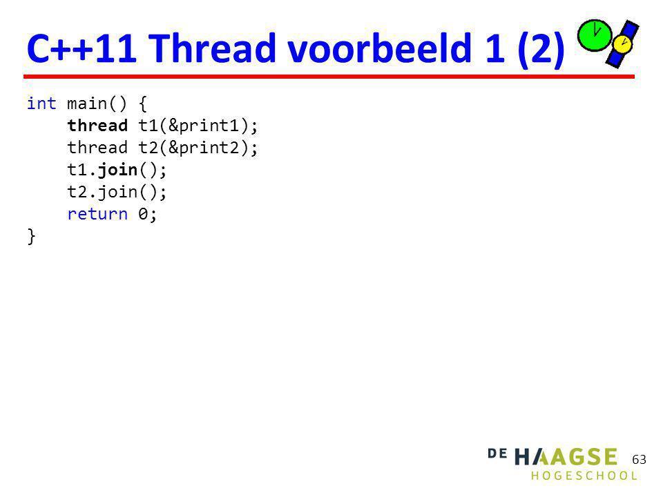 74 C++11 Lock voorbeeld class Point { public: Point(): x(0), y(0) { } void stepNorthEast() { lock_guard lock(m); ++x; ++y; } bool isNorthEast() const { lock_guard lock(m); return x == y; } private: mutable mutex m; int x, y; };