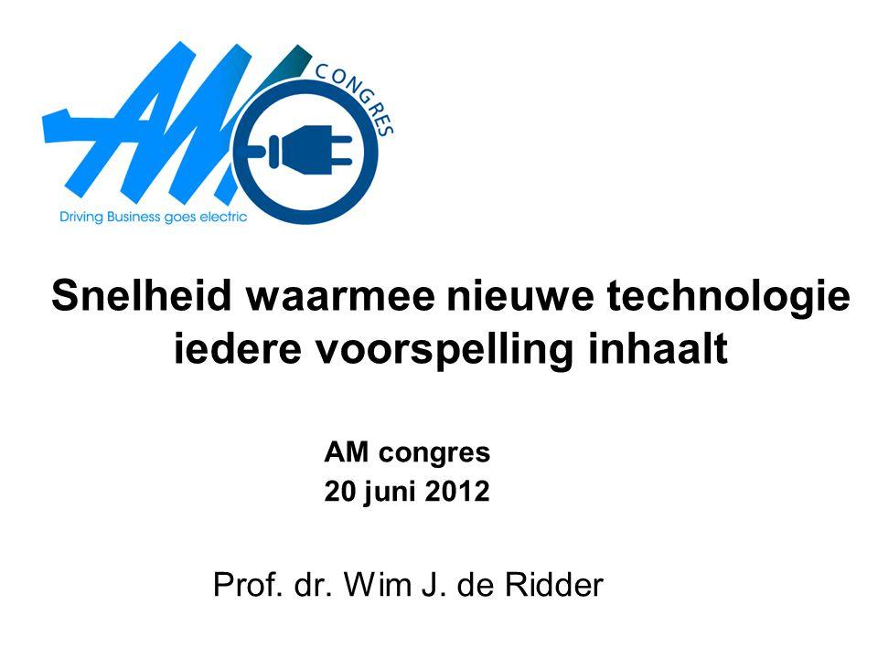 Snelheid waarmee nieuwe technologie iedere voorspelling inhaalt AM congres 20 juni 2012 Prof. dr. Wim J. de Ridder
